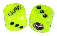 Dyno outline logo old school BMX Dice Bicycle Tire Valve Caps (pair) - SLIME GREEN SWIRL