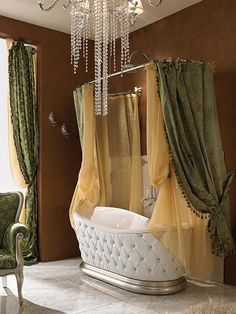 I LOVE THIS. My bathroom is small so this would be wonderful if I had this type of bathtube....Small Rooms Ideas #design #decor