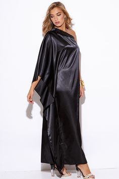 Cute cheap black satin bejeweled one shoulder kimono sleeve formal evening party maxi dress