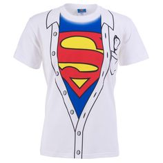 Play.com - Buy Superman Men's Costume Shirt T-Shirt (Play.com Exclusive) (White) online at Play.com and read reviews. Free delivery to UK and Europe! £12.99