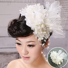 Feathers white wedding flower head $32.00