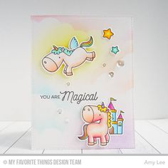 My Favorite Things MFT Clear acrylic stamps & matching dies MAGICAL UNICORNS #MyFavoriteThings