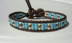 Turquoise Seed Beaded Leather Bracelet by Tina610