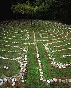 """Labyrinth of a Spiritual Summer"" by LakehousePhotography on Etsy. A simple stone laid labyrinth but with a tree at the centre adding a nice touch. Prayer Garden, Meditation Garden, Walking Meditation, Meditation Prayer, Mindfulness Meditation, Garden Paths, Garden Art, Art Environnemental, Labyrinth Maze"