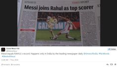 Barcelona beat Ajax 2-0 in the Champions League Group Stage match. Messi equals Raul's 71 goal scoring record in Champions League. But Indian newspaper has some other plans...