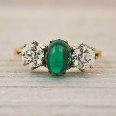 Antique Sugarloaf emerald & diamond engagement ring...stunning!