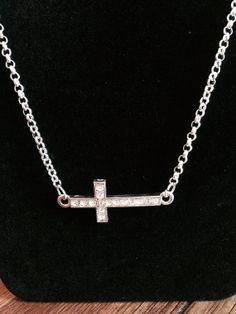 Silver rhinestone cross necklace by KelsysCharm on Etsy, $12.00