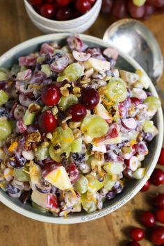 Cranberry Waldorf Salad has crisp apples, juicy grapes and a double dose of cranberries in a sweet yogurt dressing. This is the perfect salad or turkey dinner side dish! Cranberry Salad, Cranberry Recipes, Thanksgiving Recipes, Holiday Recipes, Dinner Recipes, Turkey Recipes, Appetizer Recipes, Appetizers, Dinner Side Dishes
