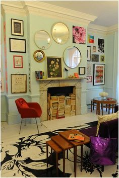 Great gallery and love the books in fireplace.