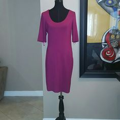 Diane Von Fursternberg Dress Pink/Fuschia Large DVF Dress. Worn once to a wedding .Perfect with simple black heels but have seen taller people wear it with knee high boots (I'm only 5'3) No snags, no tears, no holes. Dry cleaned and well stored. Perfect condition. Smoke free home :) Diane von Furstenberg Dresses