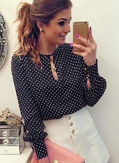 KLV brand long blouse women chiffon print O-neck polka dot printed fashion blouse long Sleeve plus size round neck tops Blouse Styles, Blouse Designs, Plus Size Women's Tops, Polka Dot Shirt, Polka Dots, Long Blouse, Blouses For Women, Women's Blouses, Dame