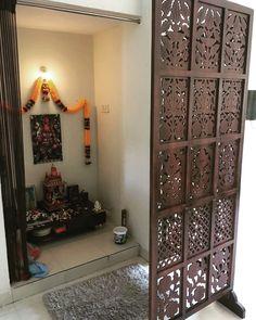 Beautiful room separator for pooja mandir. Separating Rooms, Pooja Room Door Design, Temple Design For Home, Living Room Designs, Room Partition Designs, Home Decor, House Interior, Wooden Room Dividers, Room Door Design