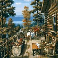 "16X20"" DIY Acrylic Paint By Number kit Oil Painting On Canvas Wood House Scenery"