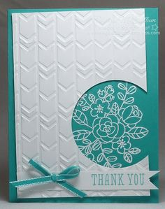 handcrafted thank you card ... white and aqua ... white emboss posey line drawing ... luv the embossing folder textured panel with negative space circle off the edge ... Stampin' Up!