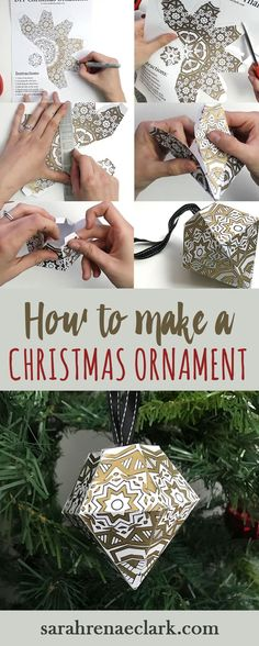 How to make a Christmas Ornament | DIY Christmas tree ornament video tutorial, step by step photo instructions and free printable template from www.sarahrenaeclark.com