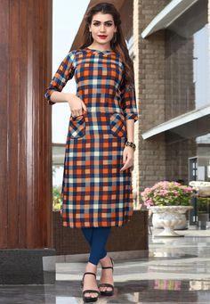 Rayon Designer Anarkali Kurtis from Big Store 4 U Simple Kurta Designs, Stylish Dress Designs, Kurta Designs Women, Salwar Designs, Cotton Anarkali Dress, Printed Kurti Designs, Casual Gowns, New Kurti, Frock Fashion