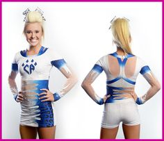 Front and back view of the BodySkort™ fit, created by Rebel Athletic. The hottest new fit in allstar cheerleading