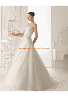 Luxuriöse Brautmode romantisch aus Organza und Satin A-Linie mit Schleppe