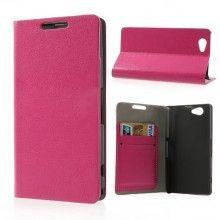 Buchdesign Tasche für Sony Xperia Z1 Compact Flip Stand Wallet Rosa