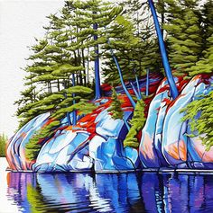 Johnnie Lake, Killarney, Oil on Canvas, 36 inches x 48 inches, SOLD Margarethe Vanderpas - Fine Artist - Killarney Ontario. Watercolor Landscape, Landscape Art, Landscape Paintings, Watercolour, Contemporary Landscape, Contemporary Artists, Canadian Artists, Acrylic Art, Tree Art
