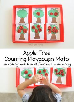 The Apple Counting Playdough Mats gets those Toddler and Preschoolers working on their fine motor skills. Playing and manipulating playdough is great for pre-writing skills. They will also work on early preschool math skills like one on one correspondence