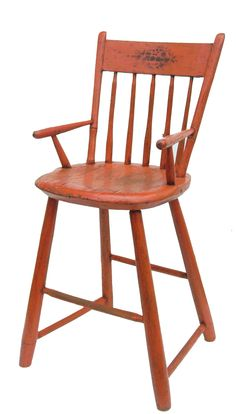 Early 19th century Painted Windsor High Chair, pumpkin-painted surface