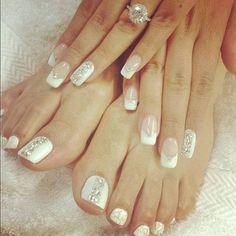 Wedding nails ! Love this idea !!