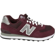 New Balance M 574 Sneakers ($59) ❤ liked on Polyvore featuring shoes, sneakers, burgundy, new balance footwear, new balance, round toe shoes, rubber sole shoes and lace sneakers