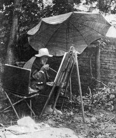El pintor Pierre-Auguste Renoir pintando en el final de su vida, ataba un pincel a su mano con artrosis.