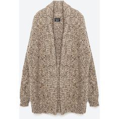 Zara Oversize Cardigan ($129) ❤ liked on Polyvore featuring tops, cardigans, jackets, outerwear, veste, vest cardigan, brown vest, vest top, zara top and zara cardigan