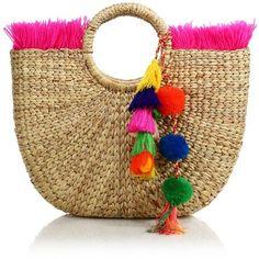 JADEtribe Tassel Pom-Pom Beach Basket (535 RON) ❤ liked on Polyvore featuring bags, handbags, man bag, round purse, pom pom beach bag, brown fringe handbag and beach purse
