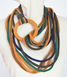 Sunshine - Earth - Crochet Multicolor Rope and Ring Circle Scarf/Bib Yarn Necklace, Knitted Necklace, Fabric Necklace, Necklaces, Finger Crochet, Finger Knitting, Hand Crochet, Hand Knitting, Crochet Scarves