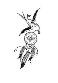 tatouage hirondelle, dreamcatcher