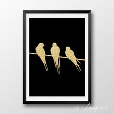Gold Birds print Prinatble gold decor Wall art by PinkLemonArts