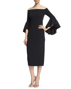 Selena+Off-The-Shoulder+Midi+Dress,+Black+by+Milly+at+Neiman+Marcus.