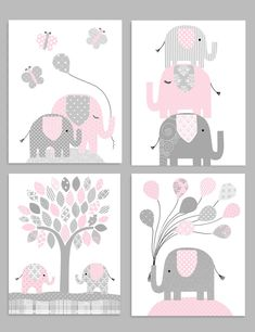 Elephant Nursery Decor, Gray and Pink, Girl Zoo Nursery, Elephant Wall Art, Safari Nursery, Jungle Decor, Zoo Canvas Decor, Baby Girl Room by SweetPeaNurseryArt on Etsy