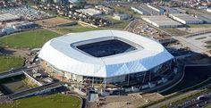 Tensile roof of Olympique Lyonnais Stadium made with Précontraint Football Stadiums, Football Soccer, Ferrari, Lyonnaise, France, Rhone, Listening To Music, Architecture, Continents
