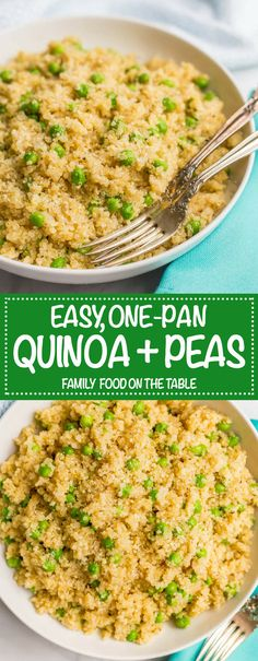 This easy, one-pot quinoa with peas and Parmesan cheese is a simple side dish with big flavors! It's perfect for a quick dinner side dish to pair with your favorite chicken or pork recipe. Quinoa Recipes Easy, Pea Recipes, Side Dish Recipes, Vegetarian Recipes, Healthy Recipes, Fast Recipes, Dinner Side Dishes, Dinner Sides, Side Dishes Easy