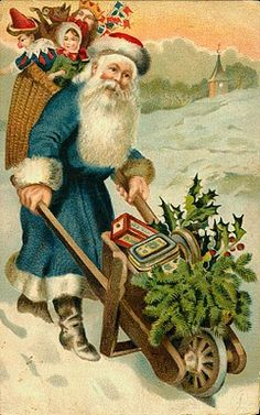 Christmas--I have this actual postcard 1907--have a large antique Santa collection  y