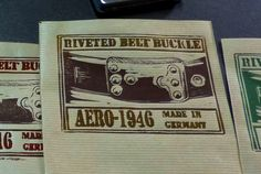 Hand printed label for our rivet belt buckle_box. Each looks a bit different. AERO-1946