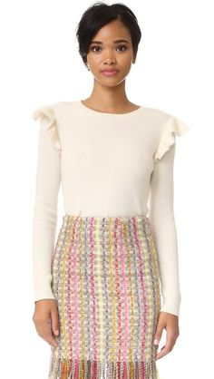 Chinti and Parker Side Ruffle Cashmere Sweater
