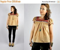 SALE Embroidered Peasant Blouse / Mexican by ItaLaVintage on Etsy