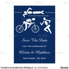 Triathlete Swim Bike Run Wedding Save The Date Magnetic Invitations Personalize this unique invitation for your triathletes magnetic wedding save the date announcement ! It features a swimmer in the water, a cyclist and a runner with a blue background and light grey text. Great for a male or female athlete, personal trainer or coach who loves to swim bike and run !