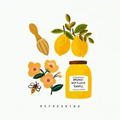 Honey and tea illustration Art And Illustration, Illustration Inspiration, Food Illustrations, Gouache, Motion Design, Ideas Scrapbook, Grafik Design, Cute Stickers, Food Art