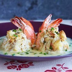 Double-Stuffed Shrimp with Beurre Blanc - Rachael Ray In Season Shrimp Dishes, Shrimp Recipes, Fish Recipes, Shrimp Appetizers, Cajun Recipes, Bread Recipes, 30 Minute Meals, Fish And Seafood, Brunch