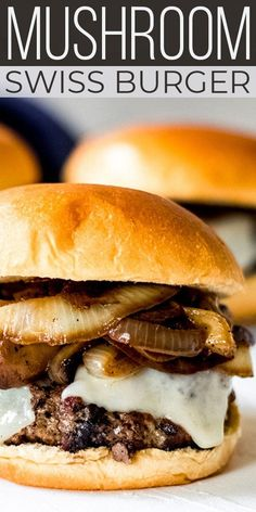 Topped with fresh sautéed mushrooms and onions, this EASY Mushroom Swiss Burger. - Topped with fresh sautéed mushrooms and onions, this EASY Mushroom Swiss Burger is perfect for sum - Grilling Recipes, Gourmet Recipes, Beef Recipes, Cooking Recipes, Kitchen Recipes, Griddle Recipes, Wrap Recipes, Onion Burger, My Burger