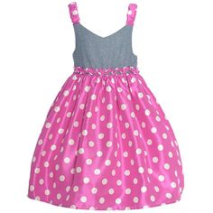 Mia Juliana Berry Chambray Shantung dress for your sweet girl. With its ric rac trim at the waist, grey sleeveless bodice, berry white polka dotted skirt and straps, the dress brings out a girly touch. Zipper back makes dressing easy and the self-tie adds