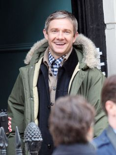 Benedict Cumberbatch And Martin Freeman Film Sherlock...okay, sorry but Martin Freeman just looks SO EXCITED TO BE WORKING HERE. #LoveItWhenActorsAreEnthusiastic!! <3