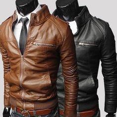 Caramel & black.  Online Shop New 2014 men 's zipper leather jackets men joker cultivate one' s morality men 's fur coat / male pu jacket|Aliexpress Mobile