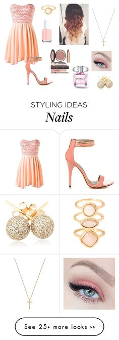 """Peach Today"" by ashrushzoo on Polyvore featuring Michael Antonio, Monsoon, Loushelou, Gucci, Essie and Charlotte Tilbury"